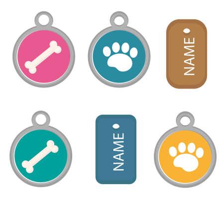 メダリオン、アイコン、フラット、漫画スタイルの犬のタグのセット。白い背景上に分離。ベクトル イラスト、クリップアート。