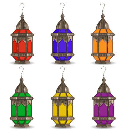 Ramadan Kareem set of multicolored lanterns, isolated on white background. Realistic 3D lamp. Vector illustration