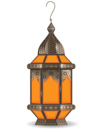 Ramadan Kareem realistic 3d lantern, isolated on white background. Vector illustration Illustration