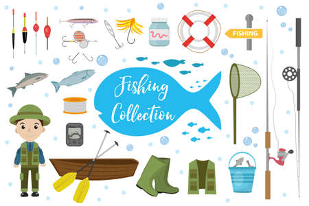 fishermans net: Fishing icon set, flat, cartoon style. Fishery collection objects, design elements, isolated on white background. Fisherman s tools with a fishing rod, tackle, bait, boat. Vector ilustration, clip-art Illustration