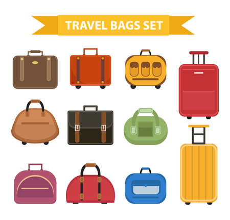 suitcase packing: Travel bags icon set, flat style, isolated on a white background. Collection different suitcases, luggage. Vector illustration