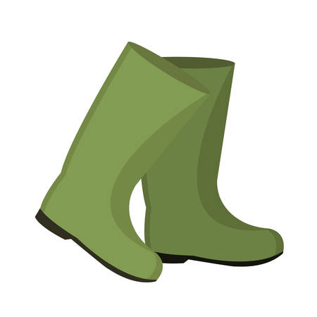 Rubber boots for fishing. icon flat, cartoon style. Isolated on white background. Vector illustration, clip-art