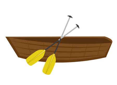 Houten boot met peddels. Pictogram plat, cartoon stijl. Geïsoleerd op een witte achtergrond. Vector illustratie, clip-ar