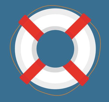 Lifebuoy. icon flat, cartoon style. Isolated on white background. Vector illustration, clip-art Illustration