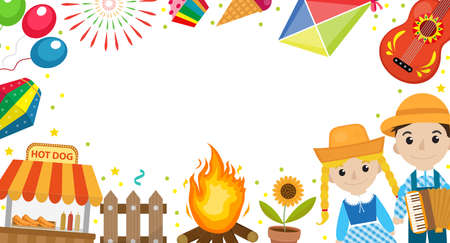 Festa Junina banner with space for text. Brazilian Latin American festival template for your design with traditional symbols. Vector illustration