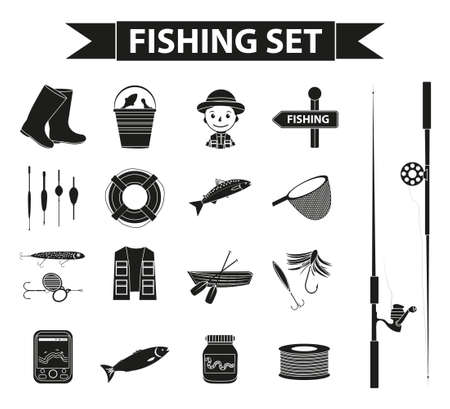 fishermans net: Fishing icon set, black silhouette, outline style. Fishery collection objects, design elements, isolated on white background. Vector illustration, clip-art
