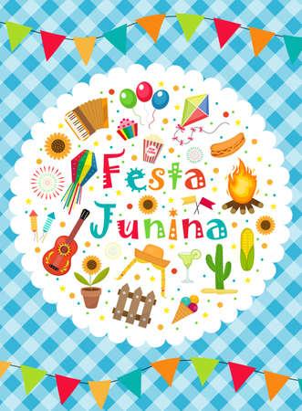 Festa Junina greeting card, invitation, poster. Brazilian Latin American festival template for your design.Vector illustration 矢量图像
