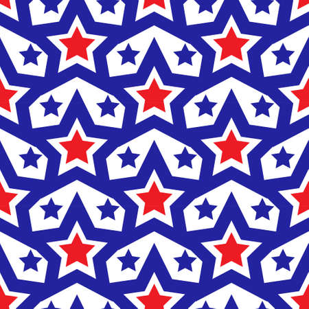 American USA flag seamless patterns. Independence Day, July 4 concept, repeating texture, endless background. Vector illustration 矢量图像