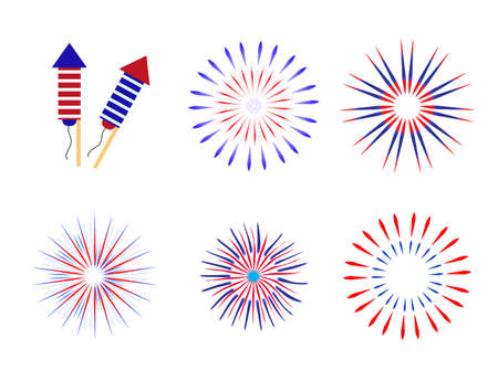 Fireworks, salute in traditional colors USA set of elements for your design. Americas Independence Day, July 4, concept. Vector illustration