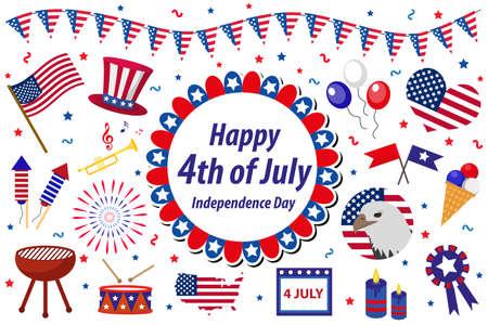 독립 기념일 미국 축 하, 아이콘 세트, 디자인 요소, 플랫 스타일. 플래그,지도, 바베큐, 멧 새, fireworks.Vector 그림을 가진 7 월 4 일 국경에 대한 컬렉션