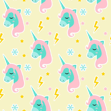 Magic Unicorn seamless pattern. Modern fairytale endless textures, magical repeating backgrounds. Cute baby backdrops. Vector illustration 向量圖像