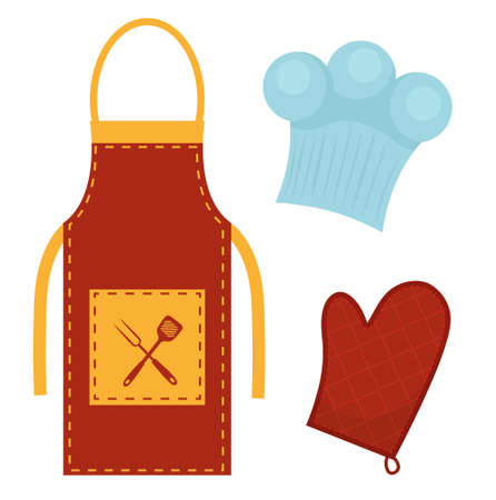 Kitchen set with apron, cook cap, potholder. Clothes for cooking, restaurant concept. Chefs uniform. Isolated on white background. Vector illustration