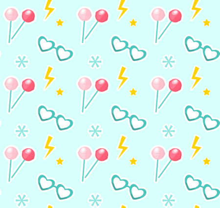 Candy on sticks, glasses in the shape of heart seamless pattern. Fashionable modern endless background, repeating texture. Vector illustration