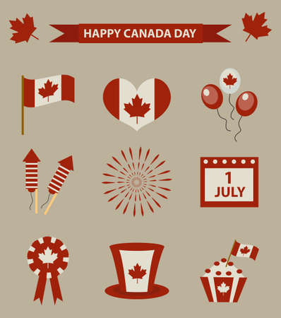 canadian flag: Happy Canada Day icon set, design elements, vintage style. Illustration