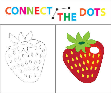 Childrens educational game for motor skills. Connect the dots picture. For children of preschool age. Circle on the dotted line and paint. Coloring page. Vector illustration