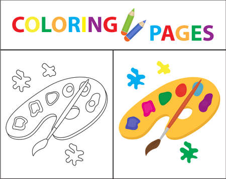 version: Coloring book page: Palette of paints, brush sketch outline and color version. Coloring for kids, childrens education vector illustration
