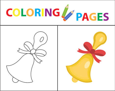 version: Coloring book page: School bell sketch outline and color version. Coloring for kids, childrens education vector illustration Illustration