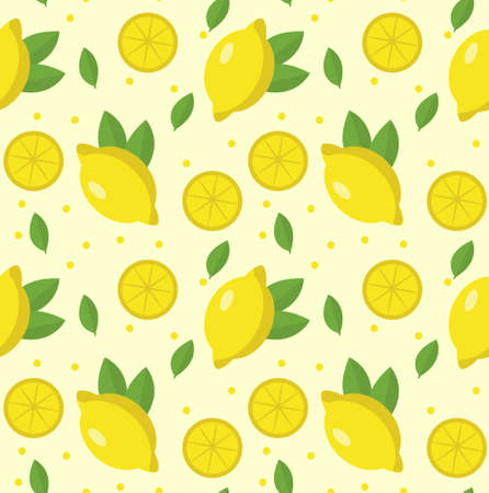 Lemon seamless pattern. Lemonade endless background, texture. Fruits background. Vector illustration