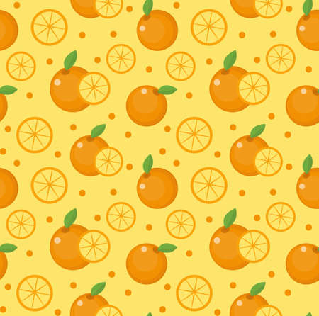 Orange seamless pattern. Mandarin citrus endless background, texture. Fruits background. Vector illustration Illustration
