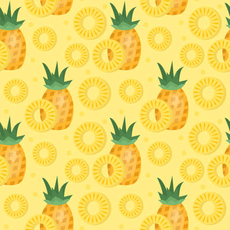 Pineapple seamless pattern. Ananas slices endless background, texture. Fruits background. Vector illustration Illustration
