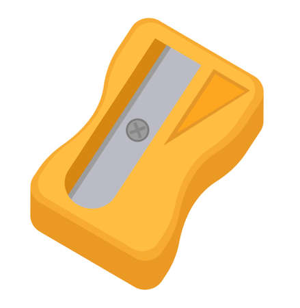Sharpener for pencils icon, flat, cartoon style. Isolated on white background. Vector illustration Illustration