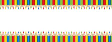 テキストの色鉛筆フレーム。学校のフレーム、招待状。ベクトル図  イラスト・ベクター素材