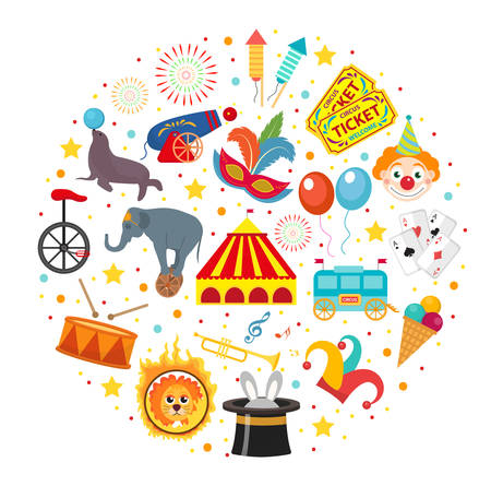 Circus icon set in round shape flat, cartoon style. Collection of elements with elephant, lion, Sealion, gun, clown, tickets. Isolated on white background. Vector illustration clip art