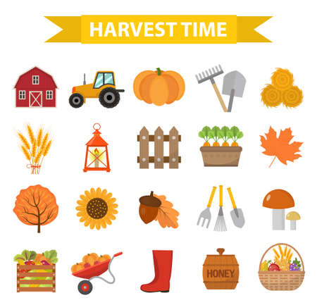 Autumn harvest time icons set flat cartoon style. Harvesting collection of elements design. Farm, thanksgiving day concept, argoticulture. Isolated on white background. Vector illustration Illustration