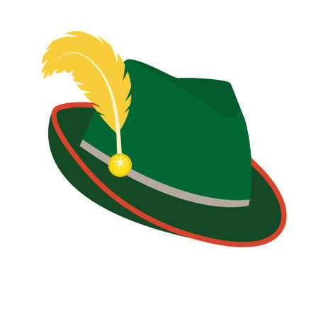 Oktoberfest hat icon flat style. Isolated on white background. Green national German hat. Vector illustration Çizim