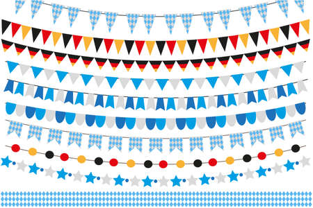 Oktoberfest set of flags, bunting, garland. October fest in germany collection of design elements. Isolated on white background. Vector illustration