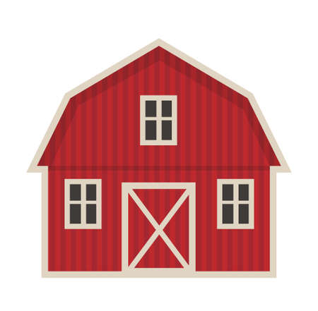 Farm building icon flat style. Isolated on white background. Vector illustration Çizim