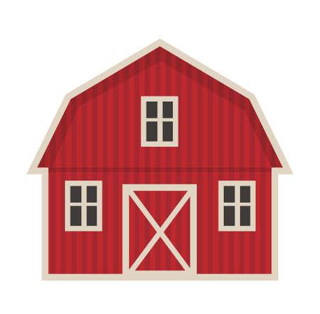icona di stile piano dell & # 39 ; edificio dell & # 39 ; illustrazione di fattoria isolato su sfondo bianco.