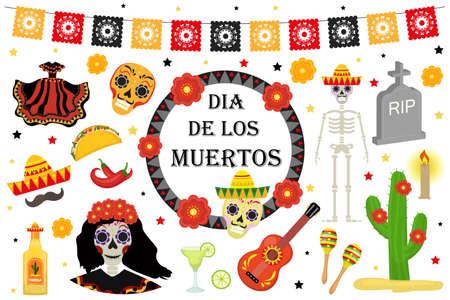 Dag van de Dode Mexicaanse vakantie pictogrammen vlakke stijl. Dia de los muertos verzameling van objecten, ontwerpelementen met suiker schedel, skelet, graf. Geïsoleerd op witte achtergrond Vector illustratie Stockfoto - 85201562