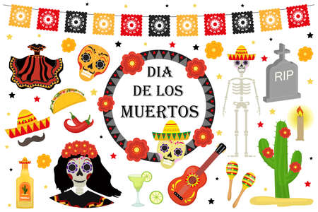 Day of the Dead Mexican holiday icons flat style. Dia de los muertos collection of objects, design elements with sugar skull, skeleton, grave. Isolated on white background. Vector illustration