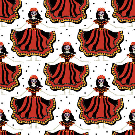 Dia de los muertos Calavera Katrina seamless pattern. Day of the dead with dead girl endless background. Repeating texture. Vector illustration