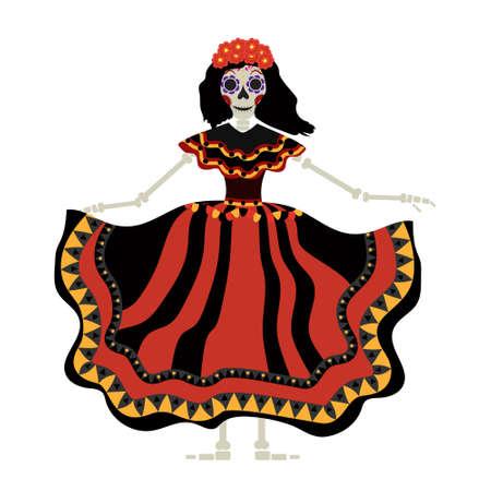Dia de los muertos Icono de Calavera Katrina. Día de los muertos con una chica muerta. Aislados en fondo blanco. Ilustración del vector Foto de archivo - 85201760