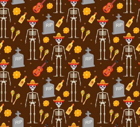 Day of the dead holiday in Mexico seamless pattern with sugar skulls. Skeleton endless background. Dia de Muertos repeating texture. Vector illustration Illustration