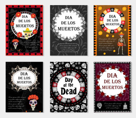 Day of the dead set flyer, poster, invitation with roses, skeleton, and sugar skulls. Dia de Muertos cards templates collection for your design. Holiday in Mexico concept. Vector illustration Illustration