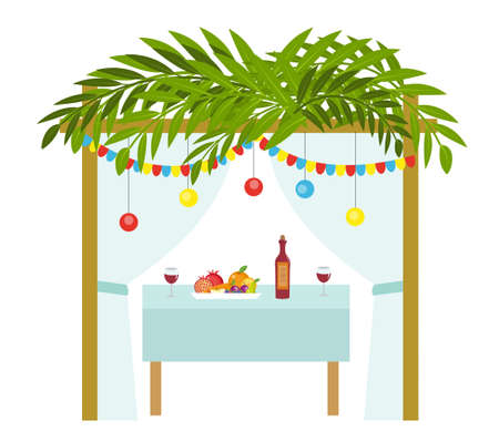 Sukkah for the Sukkot holiday. Jewish tent to celebrate. Isolated on white background. Vector illustration Reklamní fotografie - 85488565