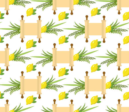 Happy Sukkot seamless pattern. Jewish holiday huts endless background. Repeating texture with etrog, lulav, Arava, Hadas. Vector illustration Ilustração