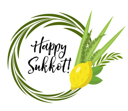 Happy Sukkot round frame of herbs. Jewish holiday huts template for greeting card with etrog, lulav, Arava, Hadas. Isolated on white background. Vector illustration Ilustração