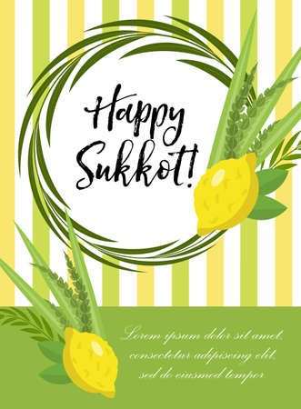 Happy Sukkot flyer, posters, invitation. Sukkot template for your design greeting card and more with etrog, lulav, Arava, Hadas. Vector illustration 向量圖像