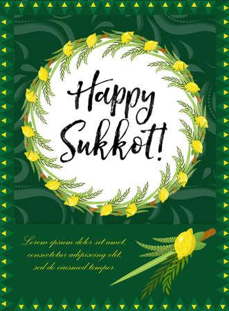 Happy Sukkot flyer, posters, invitation. Illustration