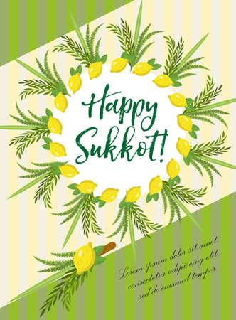 Gelukkige Sukkot-vlieger, affiches, uitnodiging. Sukkot-sjabloon voor uw ontwerpgroetkaart en meer met etrog, lulav, Arava, Hadas. Vector illustratie Stock Illustratie
