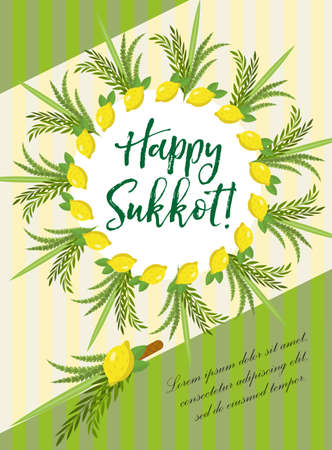arava: Happy Sukkot flyer, posters, invitation. Sukkot template for your design greeting card and more with etrog, lulav, Arava, Hadas. Vector illustration Illustration