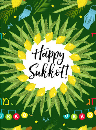 Happy Sukkot flyer, posters, invitation. Sukkot template for your design greeting card and more with etrog, lulav, Arava, Hadas. Vector illustration Illustration