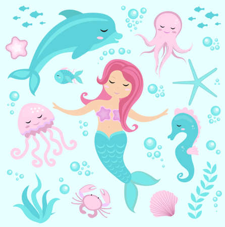 mythological character: Cute set Little mermaid and underwater world. Fairytale princess mermaid and dolphin, octopus, seahorse, fish, jellyfish. Under water in the sea mythical marine collection