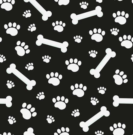 Dog bones seamless pattern. Bone and traces of puppy paws repetitive texture Vector illustration Illustration