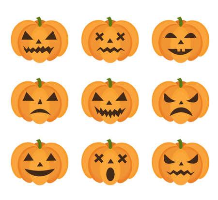 Halloween-Kürbisikone eingestellt mit Emoji. Furchtsame Emoticons-Kürbissammlung. Getrennt auf weißem Hintergrund. Vektor-Illustration, ClipArt