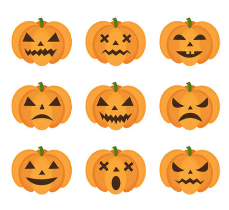 Halloween pumpkin icon set with emoji. Scary emoticons pumpkins collection. Isolated on white background. Vector illustration, clip-art Çizim